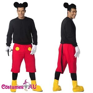 Image is loading Mens-Disney-Mickey-Mouse-Costume-Halloween-Fancy-Dress-  sc 1 st  eBay & Mens Disney Mickey Mouse Costume Halloween Fancy Dress Adult Outfits ...