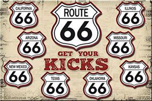 Details About Metal Tin Sign Get Your Kicks Route 66 Decor Bar Pub Home Vintage Retro Poster