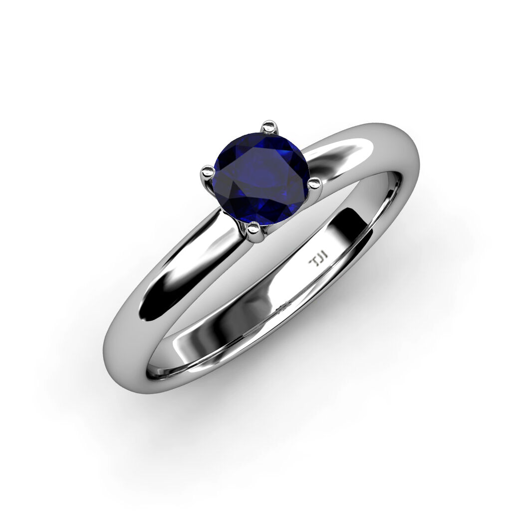 6.00 mm bluee Sapphire Solitaire Engagement Ring 0.95 ct in 14K gold JP 78068
