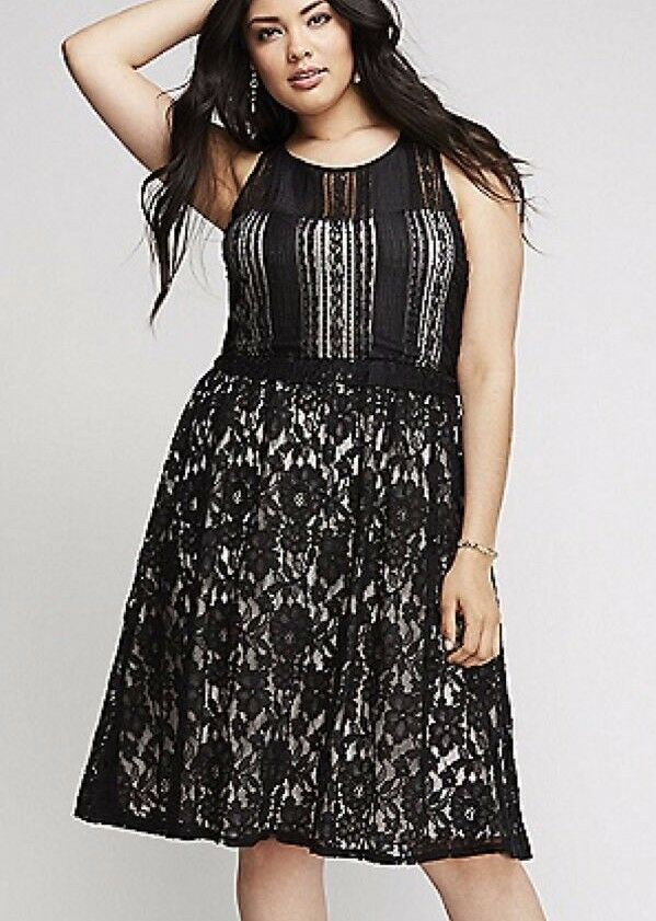 Lane Bryant Mixed Lace FIT & FLARE Party Cocktail Dress 14,16,18,20,22,24,26,28