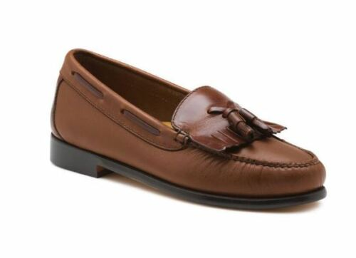 BASS JACLYN Weejuns Tassel Loafers Tan Combo 7.5W 9W 10M New in Box Leather!