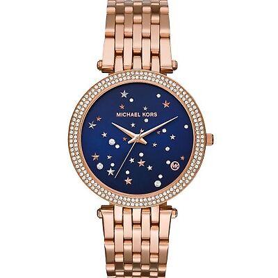 New Michael Kors MK3728 Women's Darci Rose Gold Tone Watch Blush Crystal Set