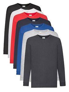 Fruit-of-the-Loom-Plain-Cotton-Kids-Childs-Boys-Girls-Long-Sleeve-Tee-T-Shirt