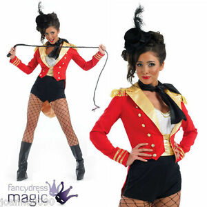 Ladies-Sexy-Ringmaster-Ring-Master-Lion-Tamer-Circus-Fancy-Dress-Costume-And-Hat