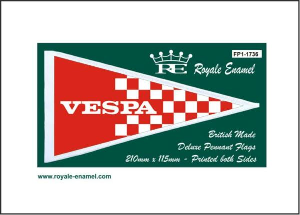Royale Scooter Pennant Flag - Vespa Red White Checks - Fp1.1736 Een Plus Een Gratis