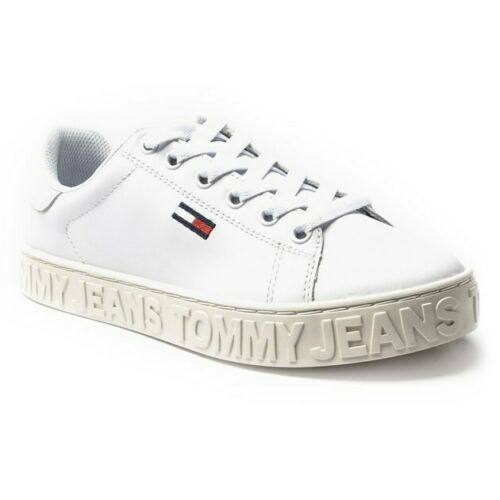 New Womens Tommy Jeans White Cool Leather Trainers Court Lace Up