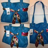 Women's Chateau Belted Purse Floral Scarf Tote Bag Flowers Blue Ribbon $40