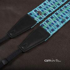 Wavy Blue Adjustable Woven Cotton Cam-in DSLR Camera Strap CAM8297 UK Stock
