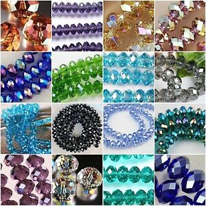 Faceted-Rondelle-Crystal-Glass-Beads-CHOOSE-COLOUR-amp-SIZE-6mm-8mm-10mm-12mm-14mm