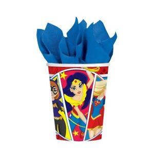 Dc-Superhero-Nina-Pack-8-Vasos-de-Papel-266-Ml-Fiesta-Cumpleanos-Vajilla