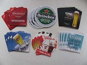 Beer-Mats-4-Pack-Budweiser-Cools-Malibu-Heineken-Coasters-Beermats-Suds-Drips