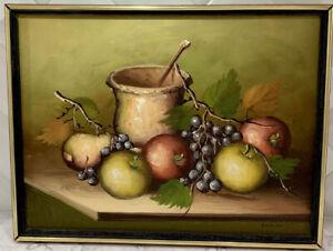 Vintage Still Life Fruit Oil Painting Canvas Framed Signed Emilian MCM 16 X 12