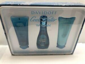 Cool Water by Davidoff 3pc Set 3.4 oz/100 ml Eau de Toilette Spray for Women