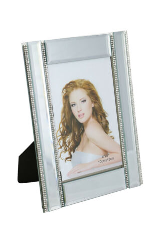"""Standing Rectangular Picture Frame w// Four Thin Vertical Crystal Strands 4/"""" x 6/"""""""