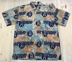 RUM-REGGAE-DIRT-CHEAP-CIGARETTES-LIQUOR-Tie-Die-Hawaiian-Lounge-Shirt-Mens-XL