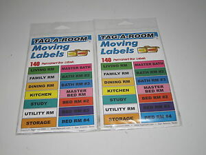 1ad4155159b Details about LOT of 2 Sets of 140 Tag-A-Room Moving Labels Color Coded  Stickers Box Big House