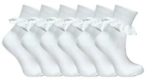 6-Pairs-Childrens-Baby-Girls-Extra-Soft-Frilly-Lace-Top-Cotton-Rich-School-Socks