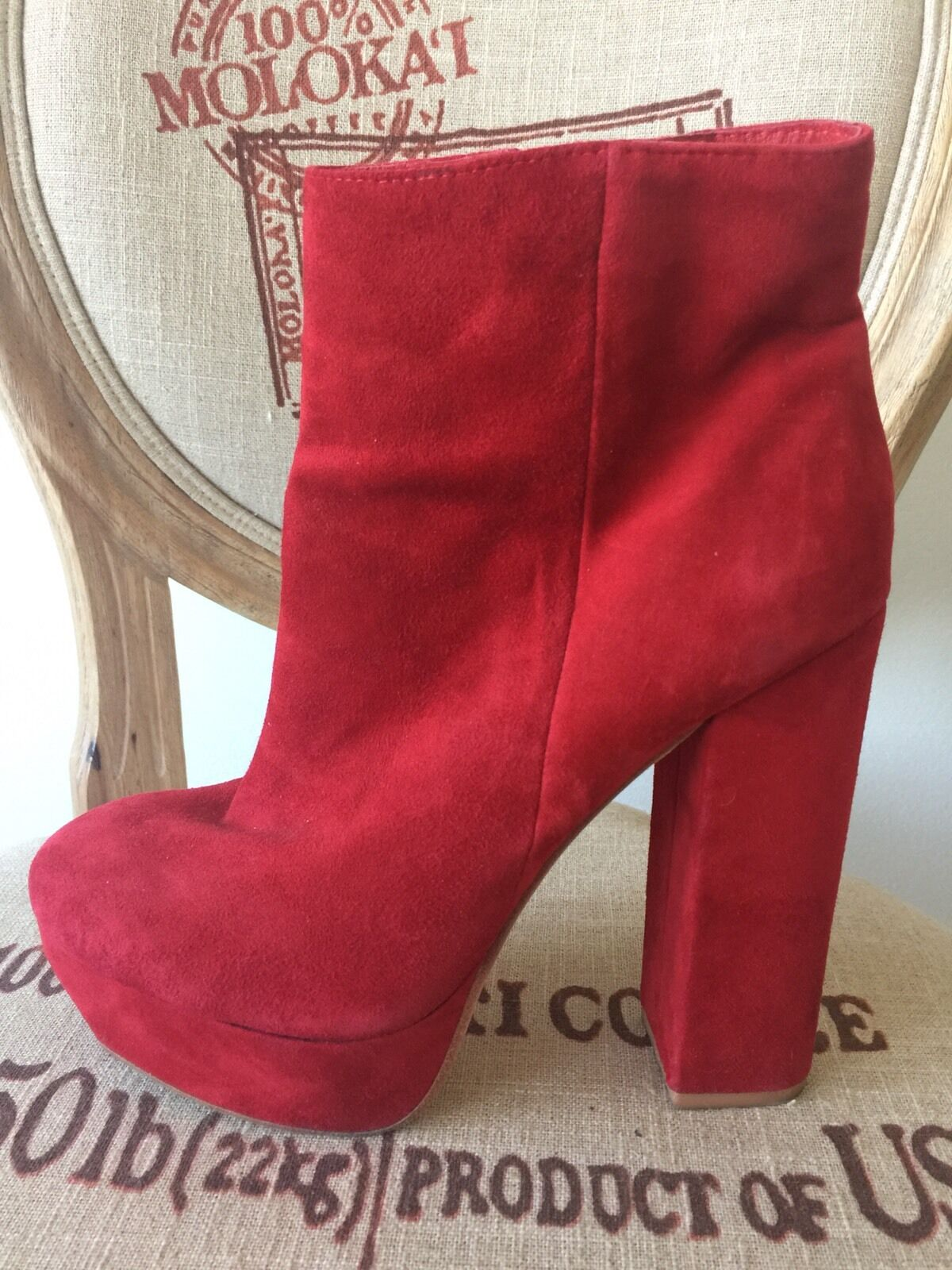 Dolce Vita Red Stylish Leather Suede Shoes Booties Boots Fall Fashion Size 40