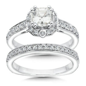 1.53 Ct Certified Moissanite Engagement Band Set Solid 18K White Gold Size 5 6.5