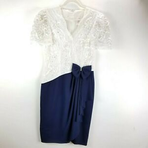 Vintage-80s-Midi-Dress-Prom-Cocktail-Formal-Blue-White-Size-12-Big-Bow-Lace