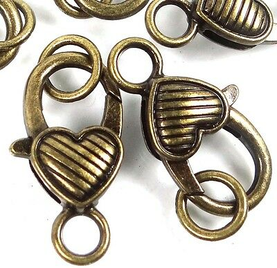 25x14mm Large Gold Pewter Flower Lobster Claw Clasps 5