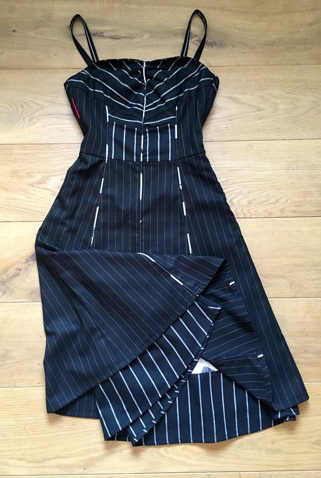St-Martins Kleid Business Nadelstreifen schwarz  XS 32 34  abnehmbare Träger