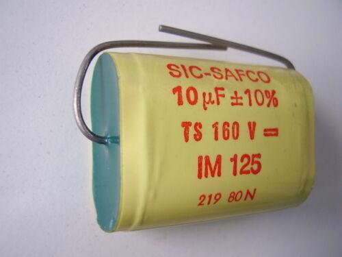 polyester Mylar 10uf 160V 350V max METALLIZED capacitor IM 125 SIC-SAFCO AUDIO