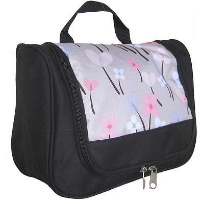 Toiletry Bag Silver Floral toiletries case wash travel ladies pink makeup vanity