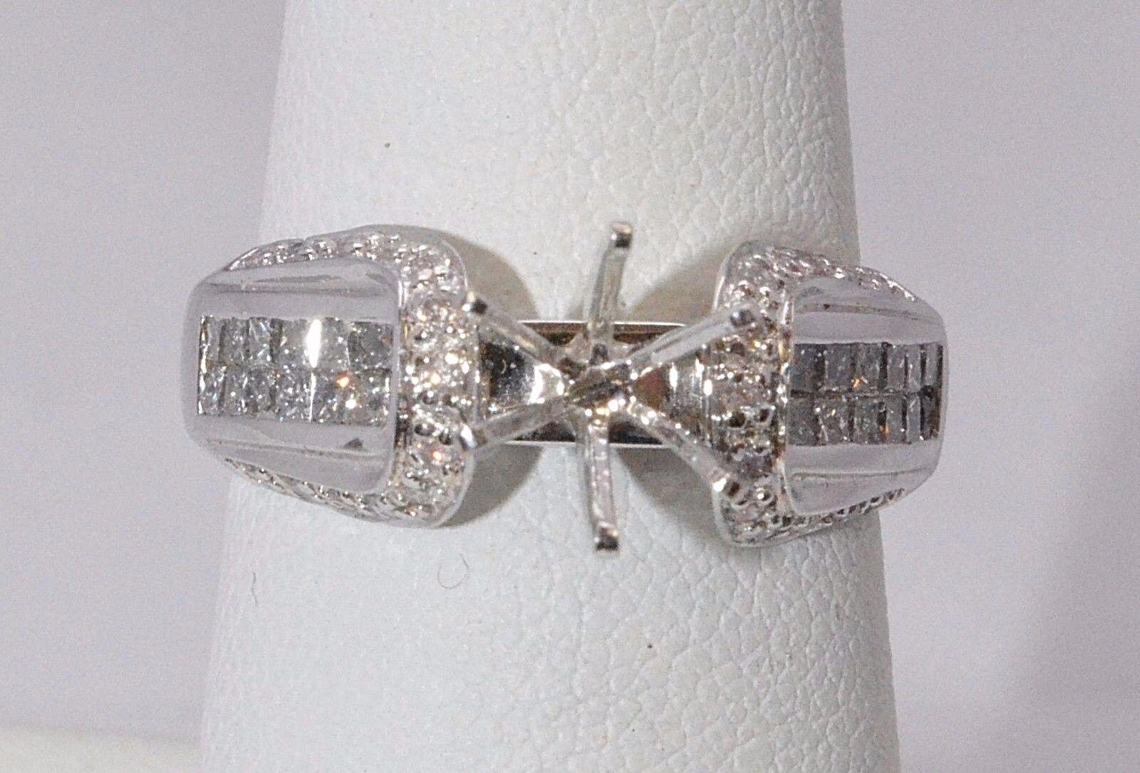 1822-14K WHITE gold DIAMOND SEMI MOUNT RING 0.68TCW 5.00 GRAMS SIZE 7.25