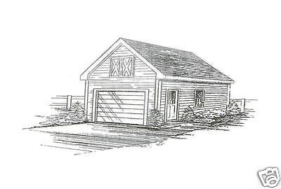 16x24 1 Car FG Garage Building Blueprint Plans w/Attic & 12/12 Roof | eBay
