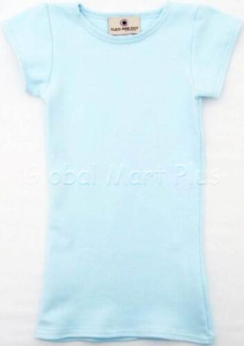 T-Shirt Top Tee Solid Short Sleeve Crew Neck Blue Purple Youth Girls Cleo Dot