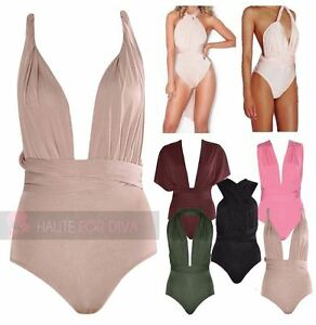 LADIES NEW MULTIWAY BODYSUIT LEOTARD PARTY TOP HALTERNECK STRAPS SLEEVE CROSSWAY