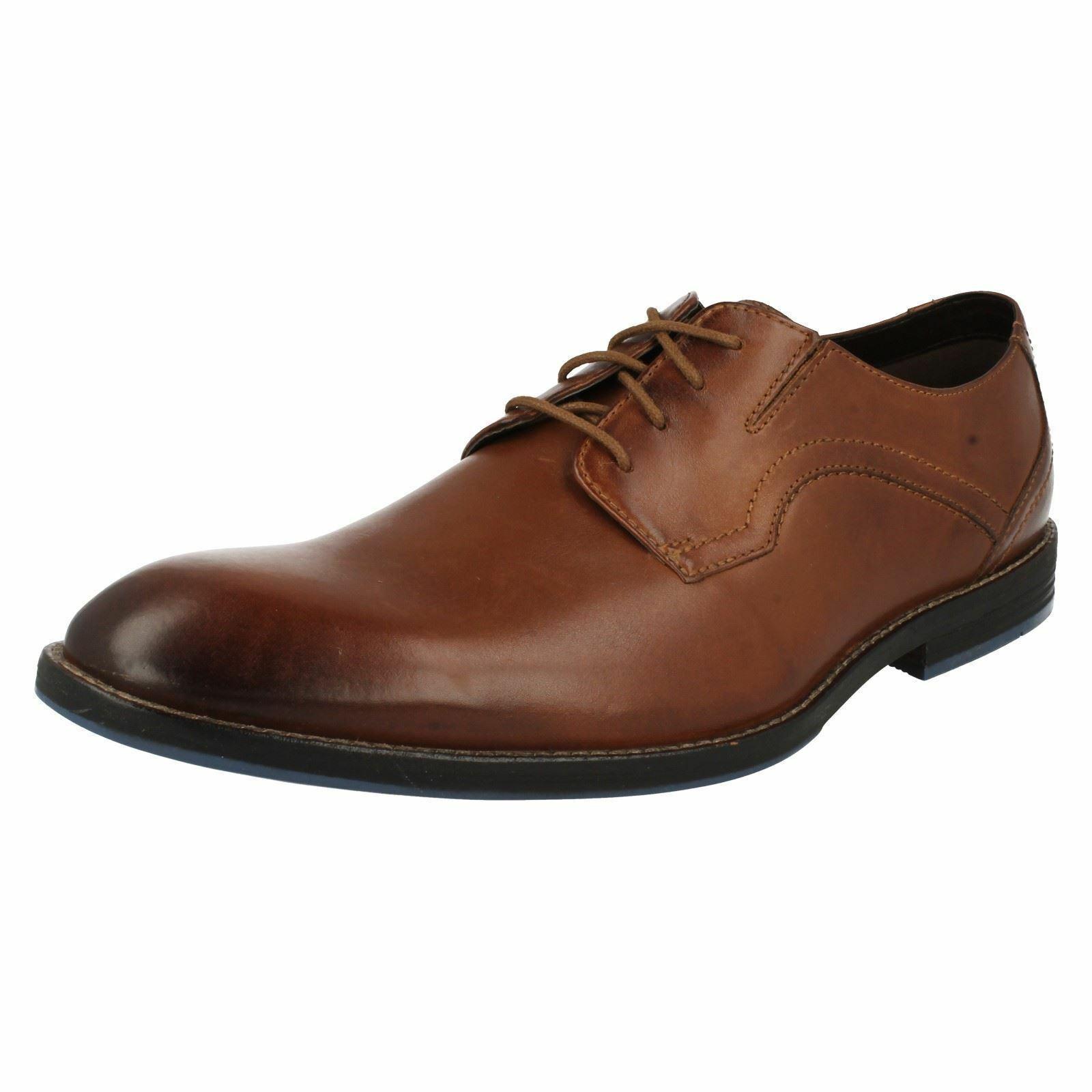 Clarks Hombre Cuero Trabajo Formal Dedo Pie Zapatos Elegantes con Cordones