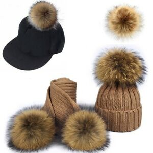Faux Fox Fur Pom Pom for Hat with Press Button Fake Fur Hat Bubble Removable