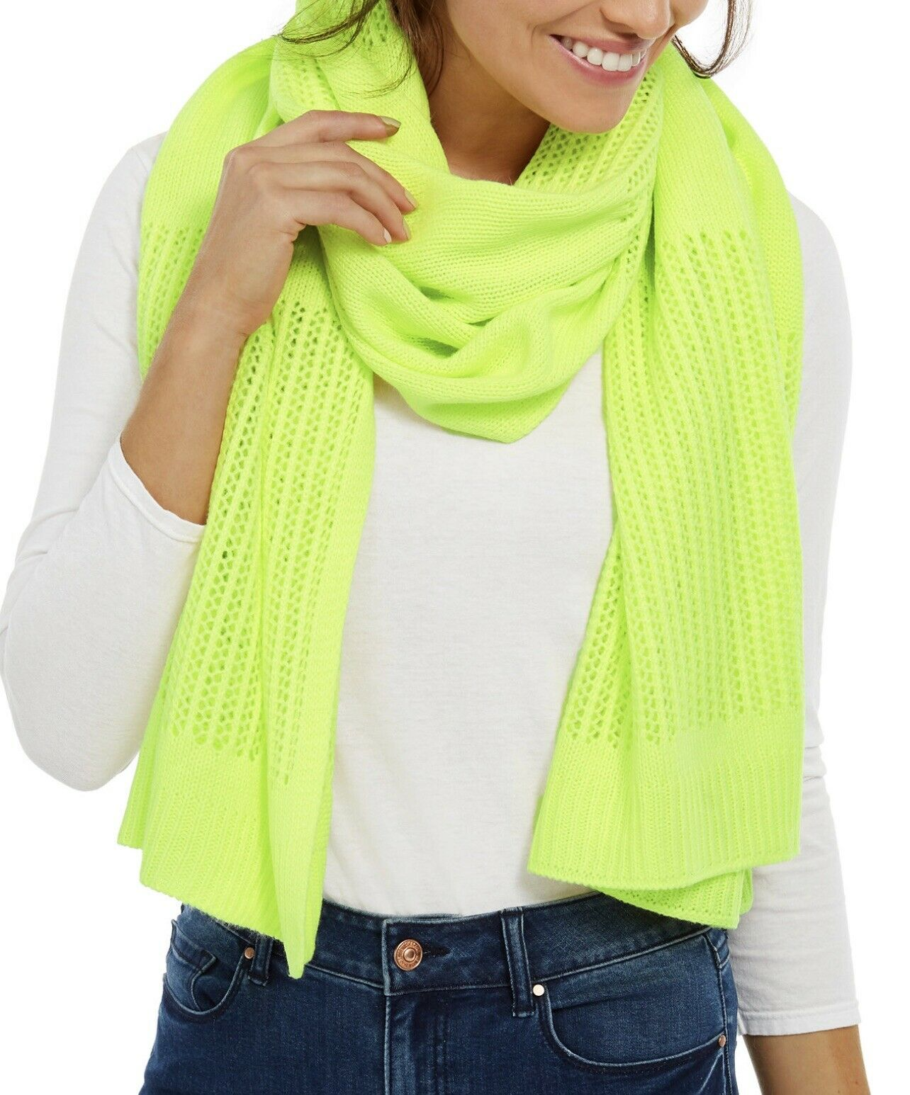 NWT DKNY Neon Yellow Open Knit Blocked Scarf
