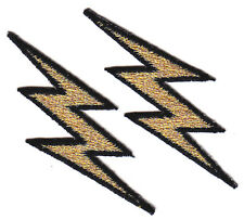 LIGHTNING BOLTS, GOLD METALLIC w/BLACK (2 PIECES) - IRON ON EMBROIDERED PATCH
