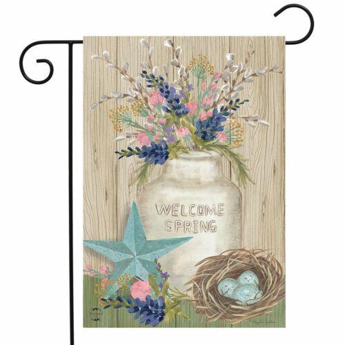 "Gifts of Spring Primitive Garden Flag Mason Jar 12.5/"" x 18/"" Briarwood Lane"