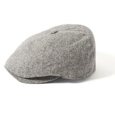 Failsworth 100/% Silk 6 Piece Button Top Bakerboy Newsboy Cap Light Grey