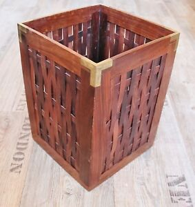 Papierkorb Maritim Ca. 23 X 23 X 31 Cm Aus Holz Mit Messing-ecken