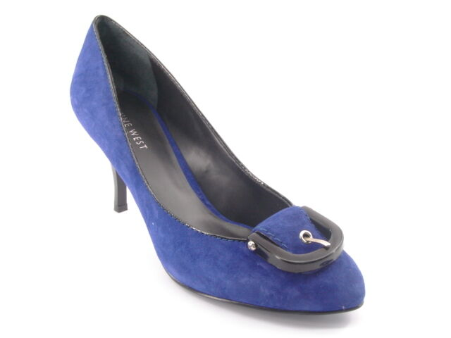 New NINE WEST Women Suede Blue High High Blue Heel Pump Dress Shoe Sz 8.5 M 4460c5