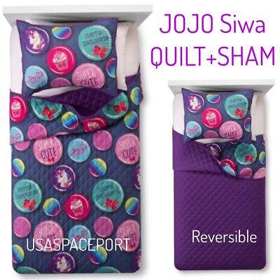 JoJo Siwa Bedding Set Twin Full Girls Unicorn Reversible Comforter Pillow Sham