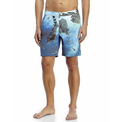 "$225 ONIA Board SWIMWEAR Trunks SHORTS Calder 7.5"" NASA Print MYANMAR 30"