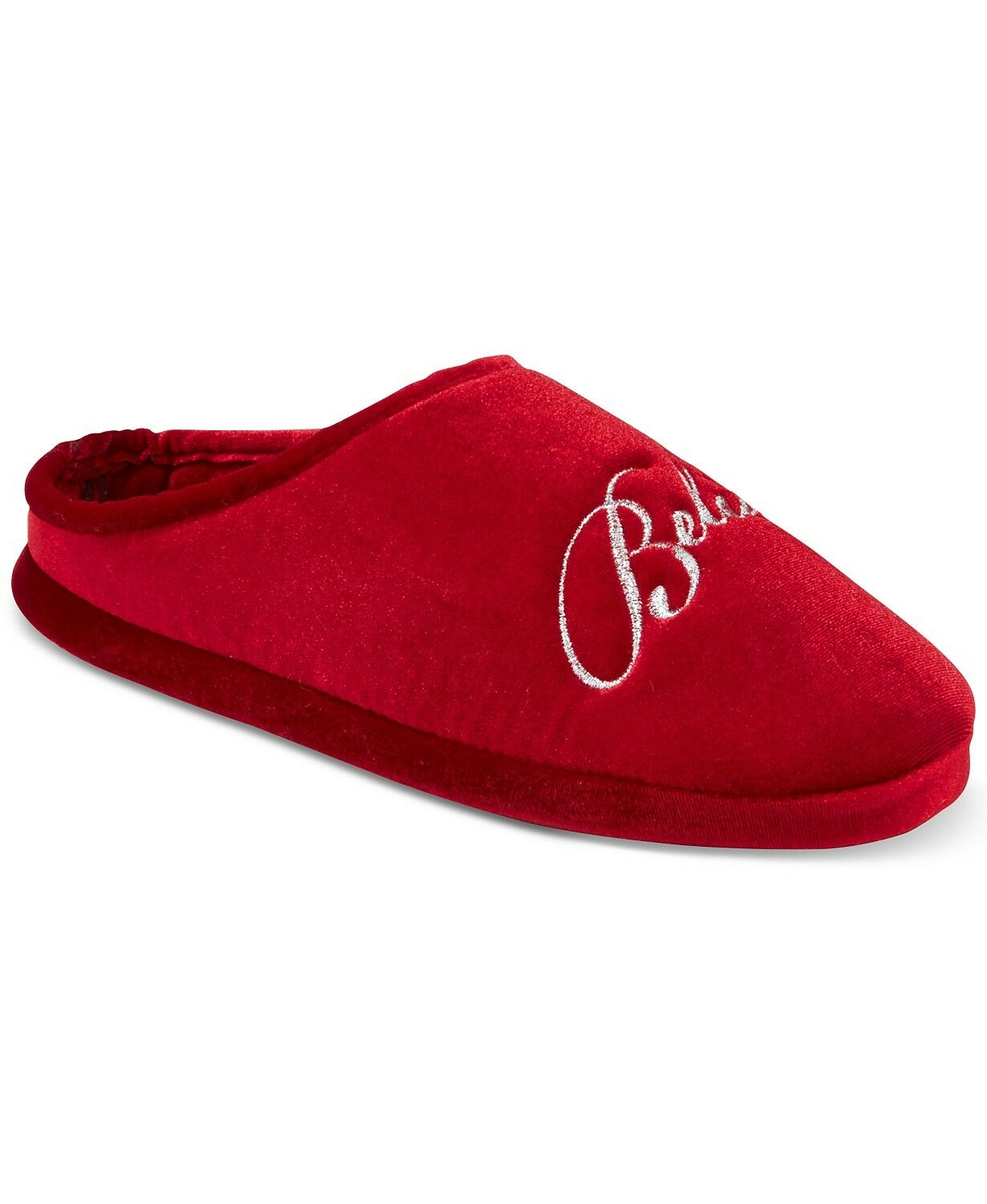 """NWT Charter Club Red """"BELIEVE"""" Clog Slippers Slip-On Shoes Indoor Outdoor XL"""