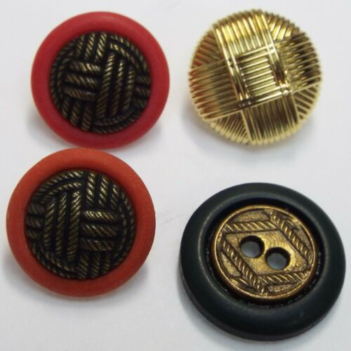 4 STYLES 15mm 18mm Gold Brass Buttons Shiny /& Patina Retro Vintage BUY 2 4 8