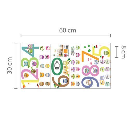Chouettes 123 éducatif Kid/'s Garçons Filles Bébés Pépinière Chambre Enfants Wall Stickers