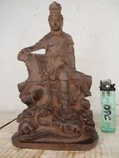Guan Yin en el mar madera Buda diosa tíbet acabado sofisticado Palisander figura 22cm