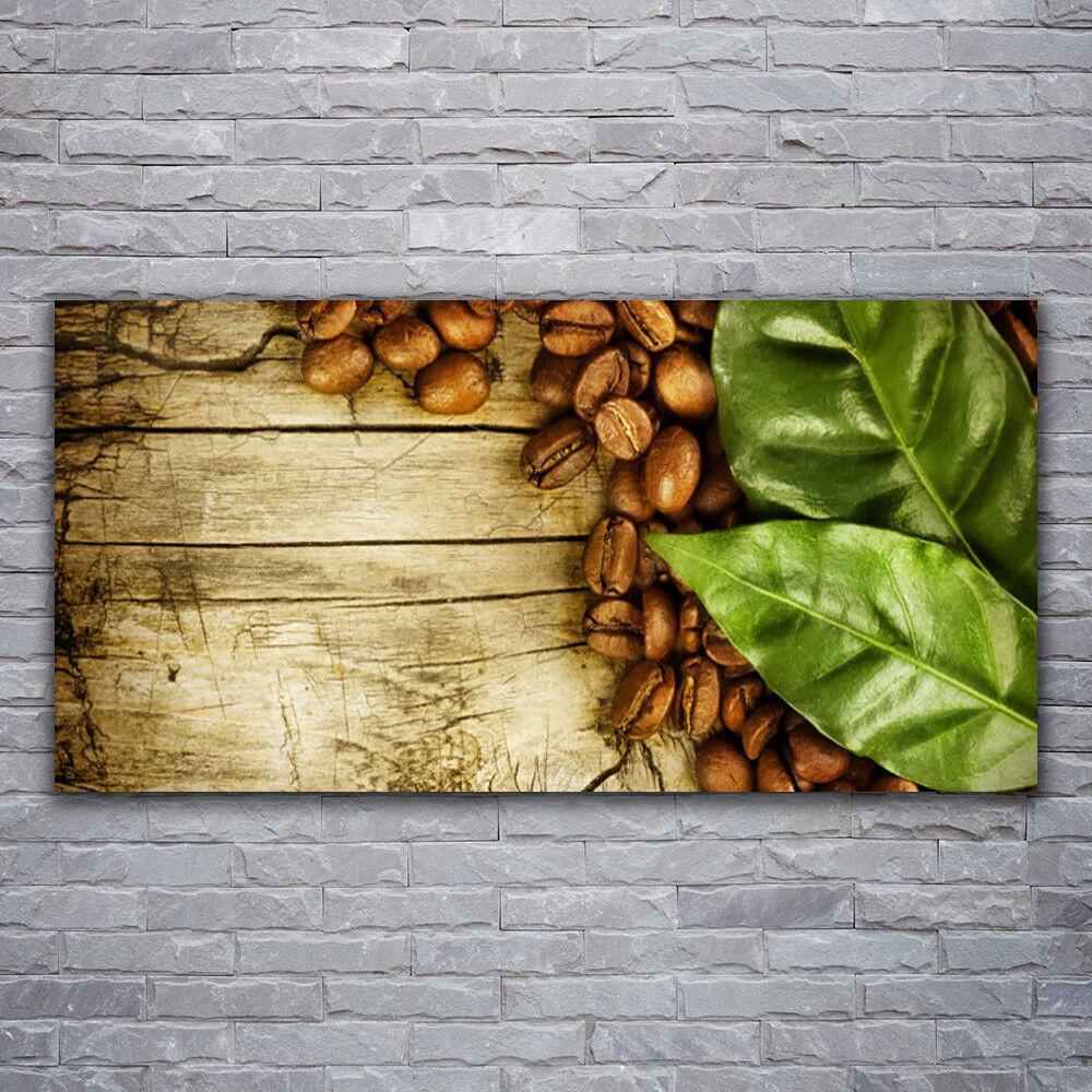 Verre Imprimer Wall Art 120x60 image photo de grains de café feuilles cuisine