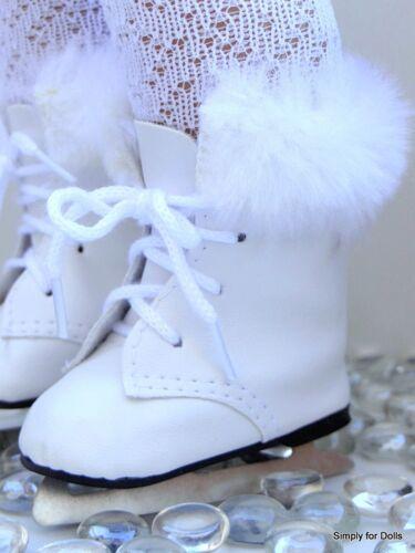 "WHITE Doll ICE SKATES w// Faux Fur Trim SHOES fits 18/"" AMERICAN GIRL DOLL"