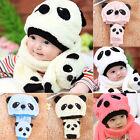 Infant Baby Girl Boy Winter Warm Cute Panda Hat Cap Beanie Scarf For Child Kids