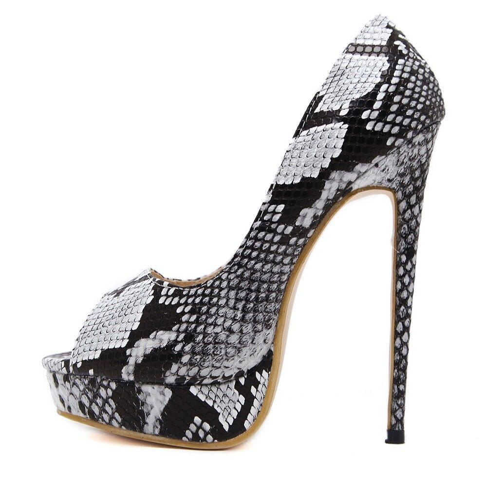 Sexy killer 6  high high high heel stiletto peep toe snake skin platform pump UK 2-7 568979